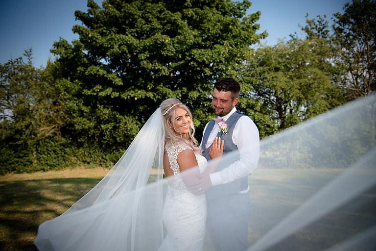 veil shot - bride and groom -the white hart inn - nottingham