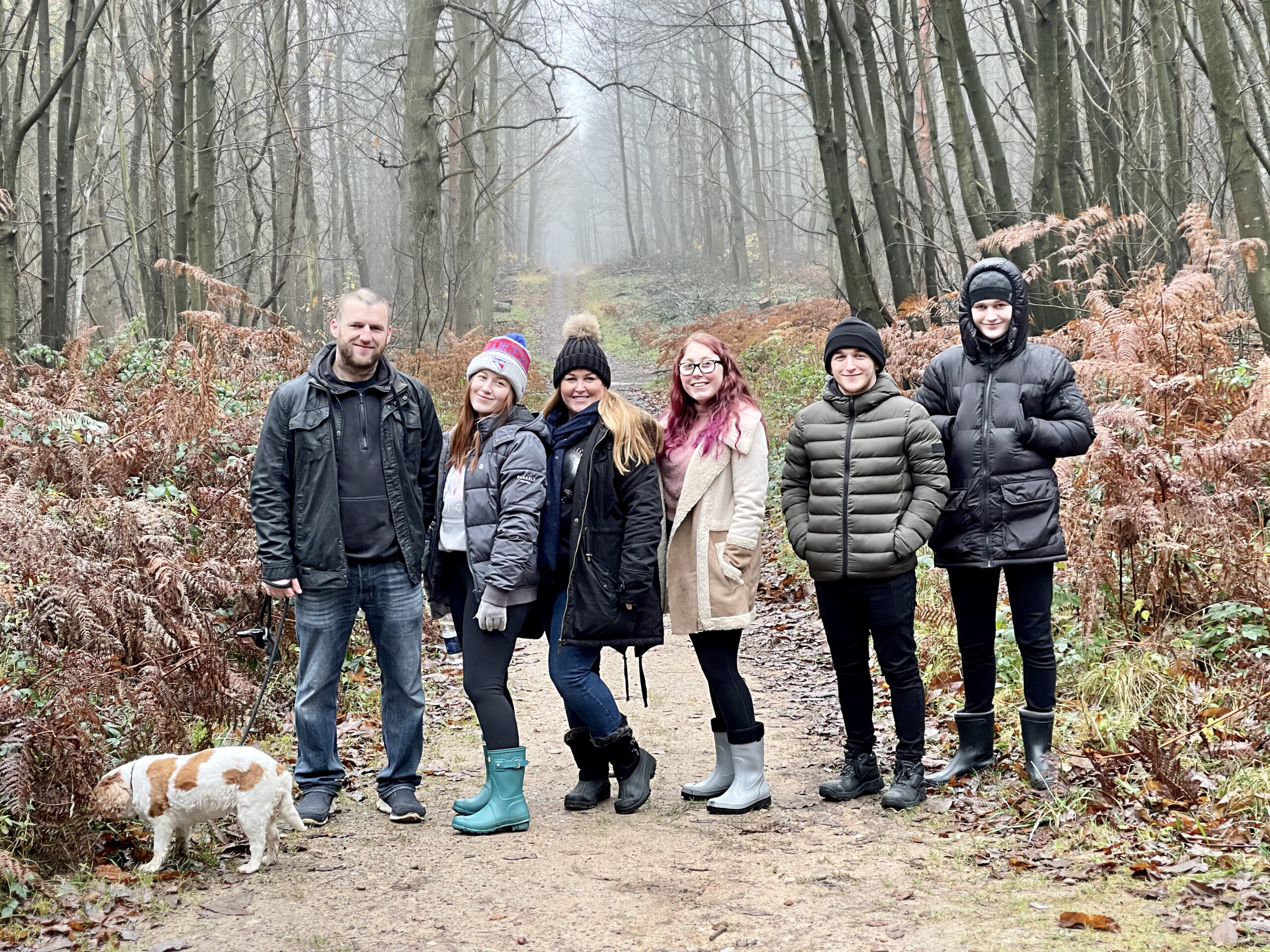 Rachael phillips with her family on a day out in the woods in nottingham