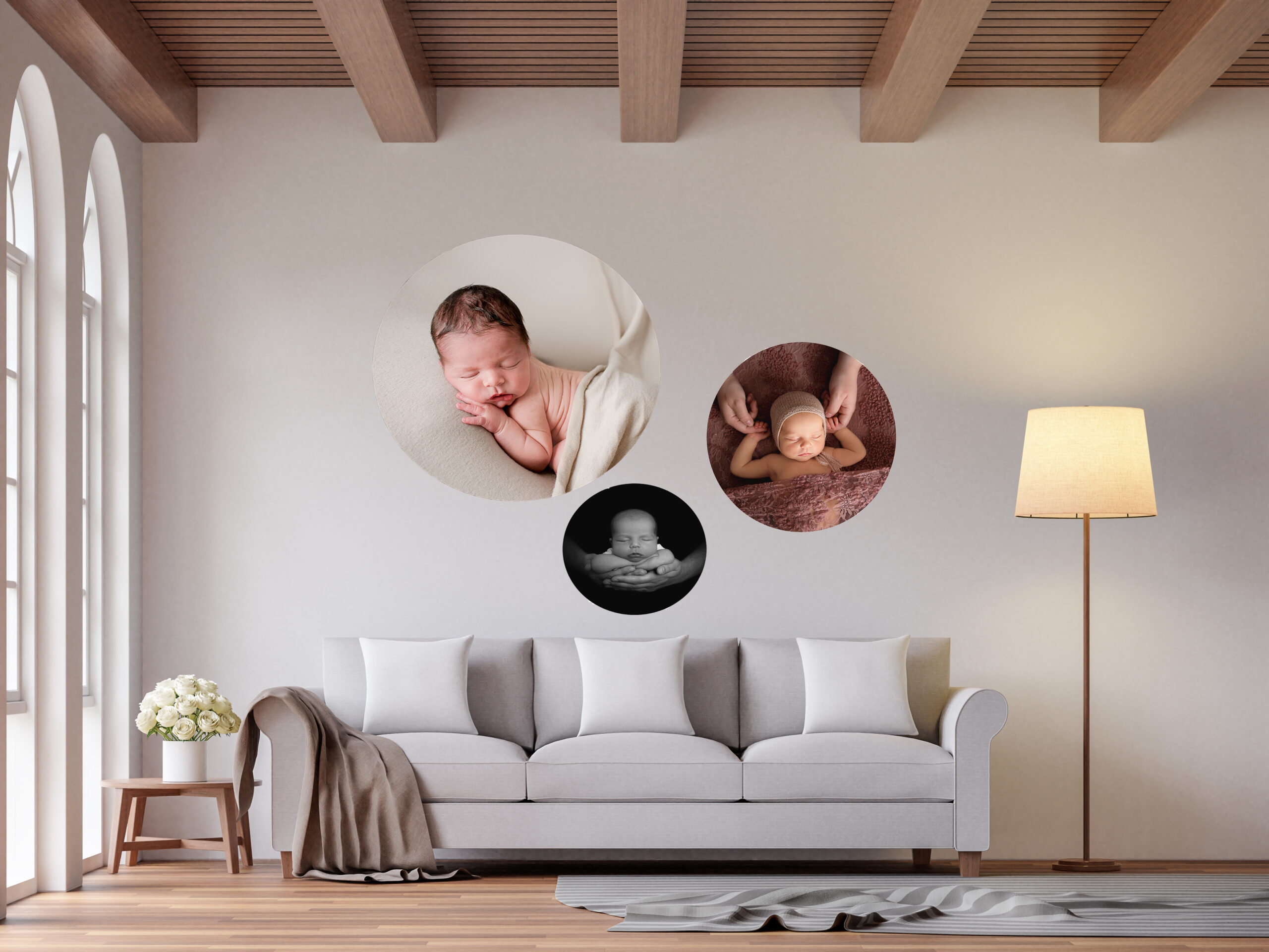 set of three acrylic circle prints