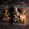 digital, composite photo of a baby on a shelf at rachael phillips photography in Mansfield, Nottinghamshire