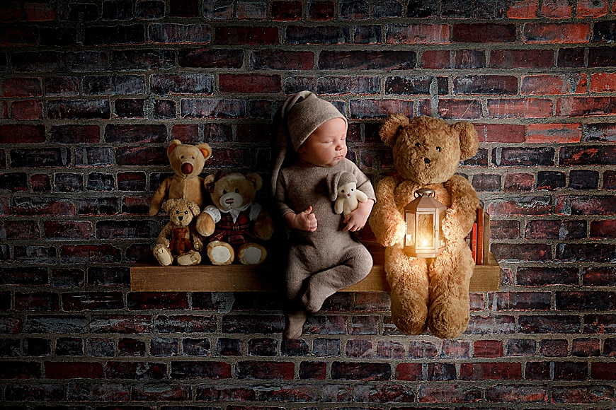 Digital composite photo of a newborn on a wooden shelf with teddy bears at rachael phillips photography in mansfield, nottingham