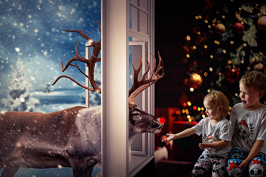 cute little girl with her big brother looking surprised as a reindeer pops his head through a window