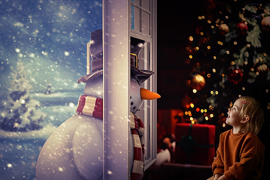 christmas backdrop with a snowman and a little girl