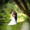 bride and groom having a tender moment together